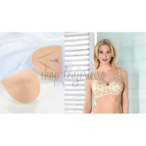 Set Proteza TwinFlex Asymmetric SoftLite 1073X si Sutien bilateral post-mastectomie cu buzunare pe ambele parti Miss Ribbon 5733X