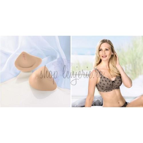 Set Proteza Trinature Asymmetric SoftLite 1081LR si Sutien bilateral post-mastectomie cu buzunare pe ambele parti Miss Ribbon 5733X